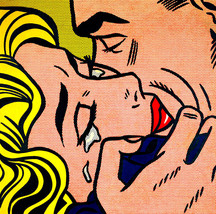 "Roy Lichtenstein ""The kiss"", HD print on canvas huge wall picture 24x24"" - $24.74"