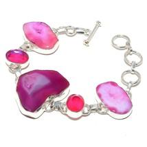"""Pink Slice Agate Druzy Jewelry Bracelet 7-8"""" RB438 - $9.99"""
