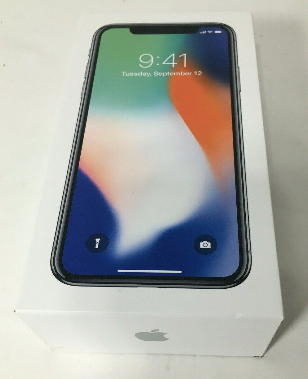 Primary image for Apple iPhone X 64GB Silver BOX ONLY Empty Package Apple Stickers included