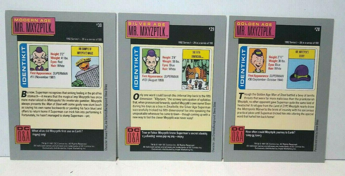 1991 DC Comics Villain Heritage Mr. MXYZTPLK Golden Silver Modern Cards
