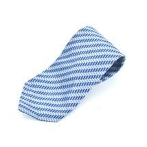 Geoffrey Beene Blue Silver Gray Diagonal Stripes Geometric Silk Tie Necktie - $7.91