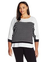 Calvin Klein Women's Plus Size Stripe Sweater with Woven Trim, White/Black, 2X