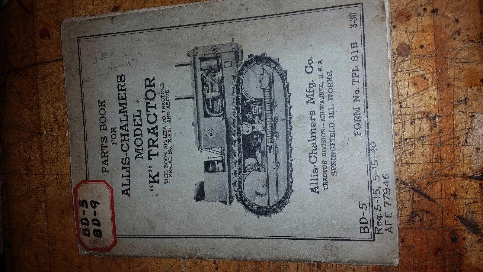 Allis Chalmers Model K Tractor Crawler Original Parts book Catalog Manual