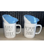 Rae Dunn DADDY SHARK Coffee Mug CUP with Blue Shark Head Topper New - $21.99