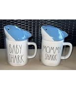 2 Rae Dunn MOMMY SHARK & BABY SHARK Coffee Mugs CUPS w/Blue Shark Head T... - $34.99