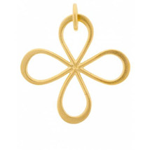 Charm,Gold Plated Sterling Silver, 22x19mm, Four Petals Clover, Pkg 1pc ... - $10.48