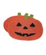 (x 4) Pumpkin Jack O' Lantern Halloween Beaded Placemats Lot Table Fall ... - £37.97 GBP