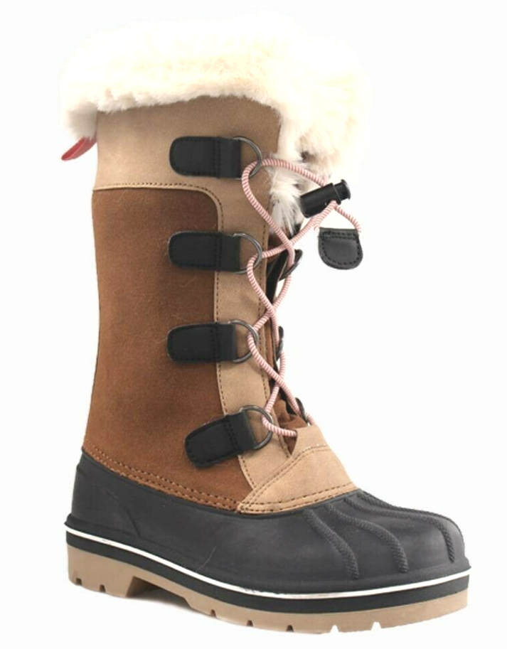 Cat & Jack Big Girls' Youth Brown Tan Constance Faux Fur Winter Waterproof Boots
