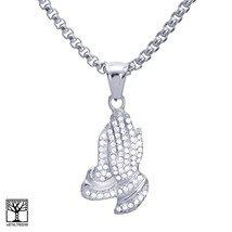 "Men's Stainless Steel Iced CZ Pray Hand Pendant 24"" Chain Necklace SCP 3... - $20.56"