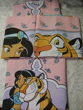 Jasmine~Raja~Aladdin~Vintage~Disney~Twin Size~Flat Sheet~2 Pillow Cases~... - $37.39