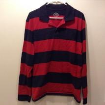 St. John's Bay Red/Blue Horizontally Striped Pullover Sz L