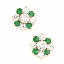 14K Solid Yellow Gold 8MM Emerald May Birthstone Flower Studs ER-PE32-5 - $110.87