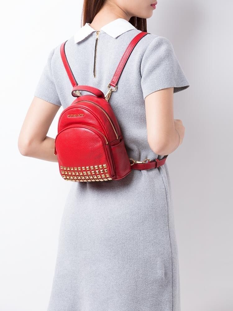 fd90976df5ccf NWT Michael Kors Abbey Mini Backpack Crossbody Bag Red Extra Small Studded  Bag