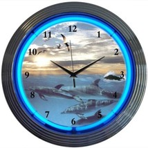 "Dolphins At Sea Art Light Neon Clock 15""x15"" - $59.00"