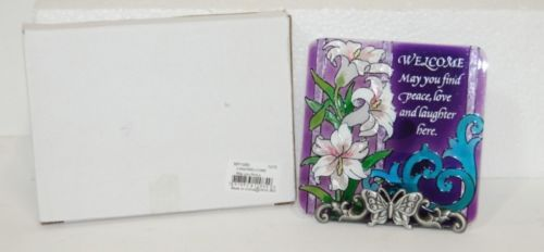 Joan Baker Design MP1080 Hand Painted Lilies Welcome Glass Plaque