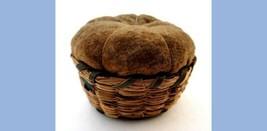 antique victorian CHATELAINE SWEET/RYE GRASS PIN CUSHION BASKET/VELVET i... - $124.95