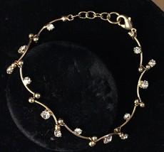 Vintage Gold Tone Curved Bar Link Chain Rhinestones Adjustable Tennis Br... - $31.59
