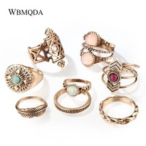 8 Pcs/lot Indian Gold Silver Opal Feather Knuckle Ring Set Vintage Geometric Mid - $10.44