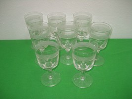 Set of 8 Clear Crystal Etched Emblem on Glass on Pedestal Wine Glasses Mugs - $18.65
