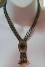 Vintage Robert Rose Triple Interlocking Link Chain Pendant Necklace - $55.00