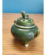 Vintage Japanese Pottery Frog Incense Burner, Koro, Seto ware - $34.60