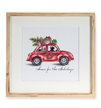 """15.75"""" Tan Dog Driving in a Red Car """"Home for the holidays"""" Framed Wall Art - $19.59"""