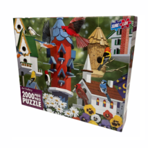 Art Gallery Birdhouses 2000 Piece Jigsaw Puzzle Sure-Lox Colorful Scenic... - $22.96