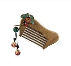Natural Wood Ancient Tassels Vintage Comb Green Sandalwood Comb - $26.31