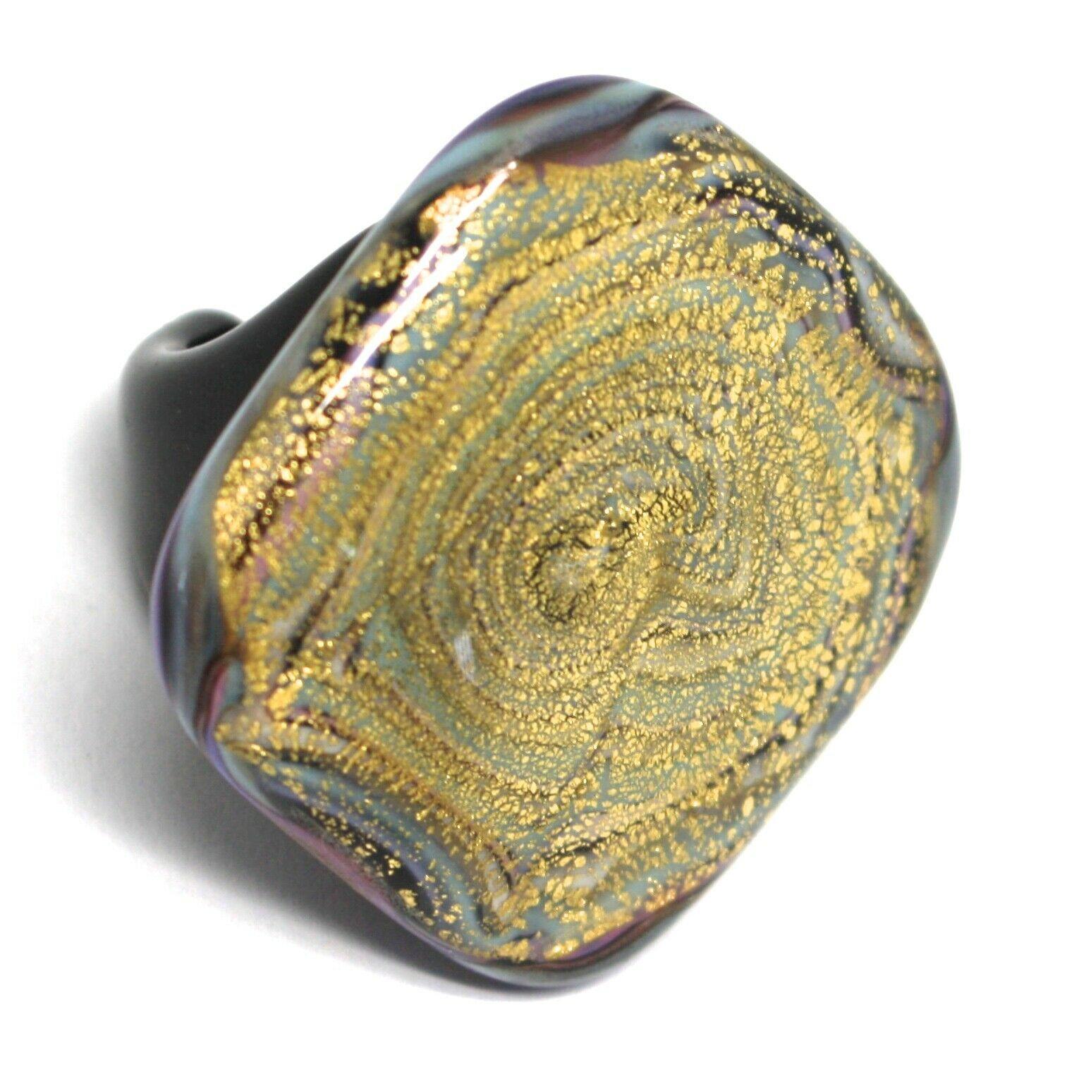 Ring Antica Murrina, Murano Glass, Black Purple, Leaf Gold, Big Square