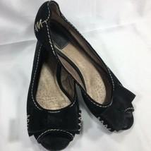 Clarks Artisan Open Peep Toe Loafer Moccasin Black Suede Leather Bow Siz... - $27.69