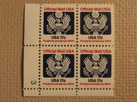 USPS Scott O130 17c Official Mail USA 1983 Mint NH Plate Block 4 Stamps - $6.36