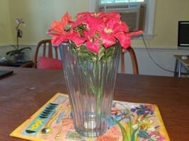 "Indiana Glass Flower Vase Triad 10"" Crystal Vertical Groove Ridges Usa - $10.88"