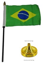 ALBATROS Brazil Country 4 inch x 6 inch Flag Desk Set Table Wood Stick S... - $21.00