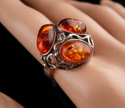 Vintage Art Nouveau Ring - sterling gothic vines - silver Amber - size 7 1/2- ra - $165.00
