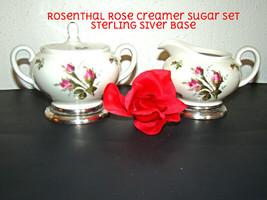 ROSENTHAL Porcelain MOSS ROSE SUGAR CREAMER SET  STERLING SILVER BASE - $23.01