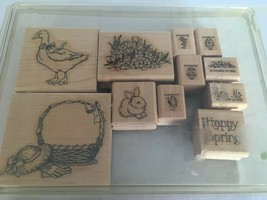 Stampin Up Easter Eggs Happy Spring Rabbit Duck 1992 Mounted Stamps Set ... - $36.00