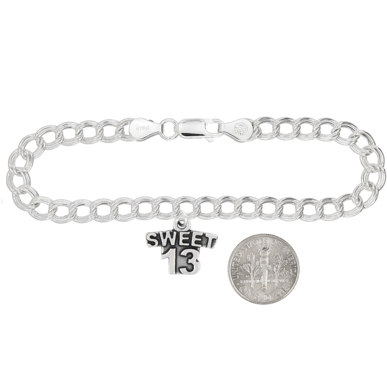 Sterling Silver Oxidized Sweet 13 Teen Birthday Charm (Options)