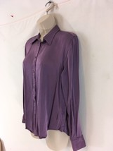 Ralph Lauren Womens L Purple Viscose Long Sleeve Button Front Shirt - $19.80