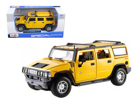 2003 Hummer H2 SUV Yellow 1/27 Diecast Model Car by Maisto - $37.01