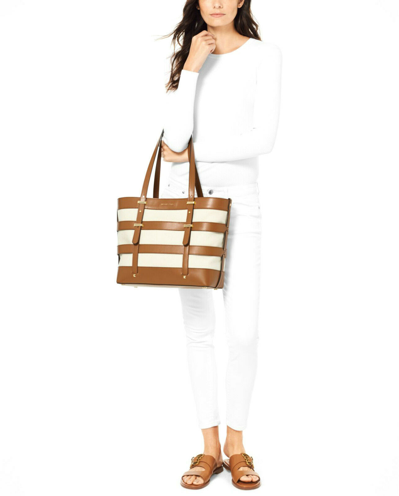 Michael Kors Marie Large Canvas & Leather Cage Tote Acorn / Natural New NWT $298