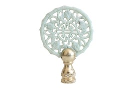 Beautiful Vintage Style Hand Carved Green Jade Double Happiness Lamp Fin... - $34.64