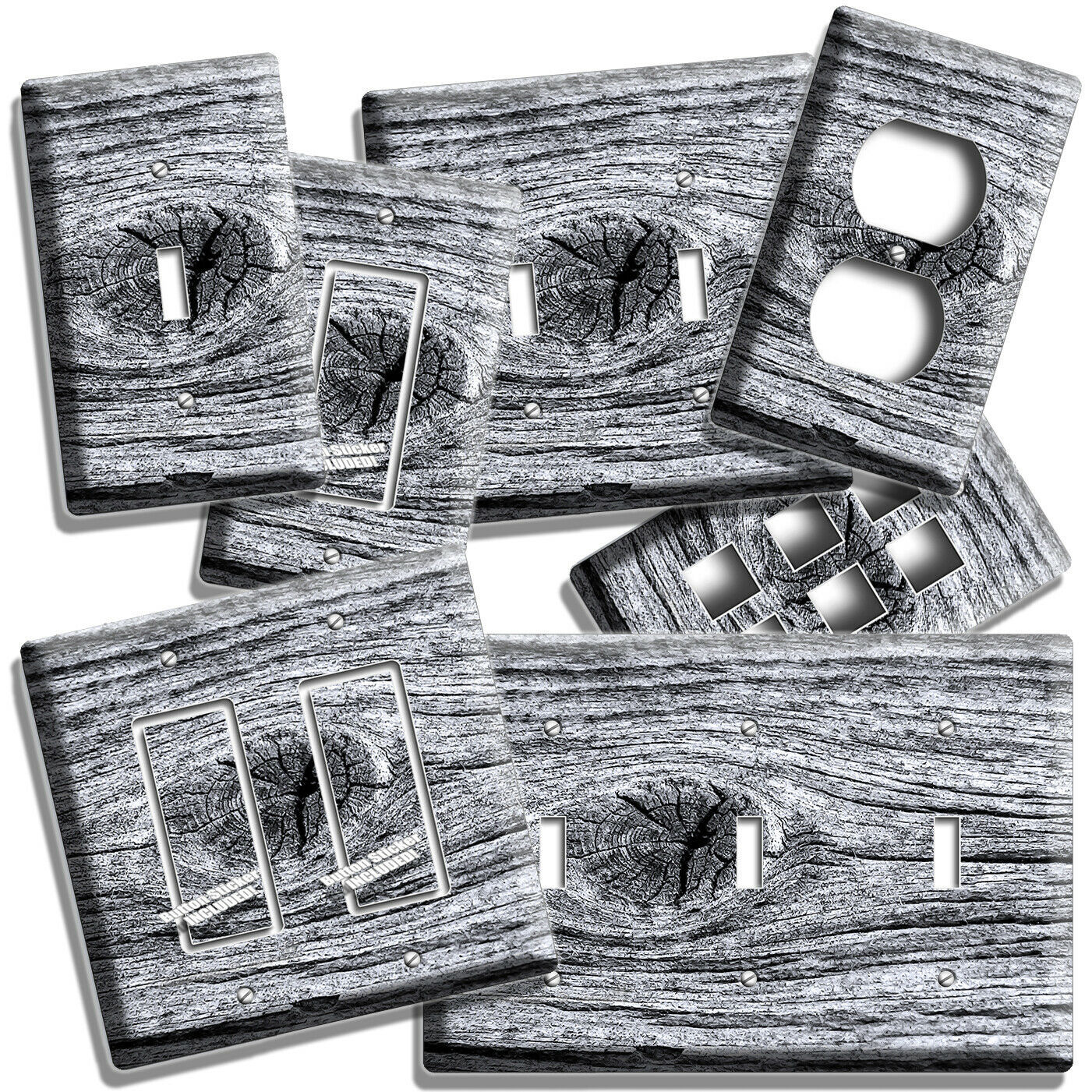 Primary image for WEATHERED AGED WOOD EYE RUSTIC LOOK LIGHT SWITCH PLATES OUTLET ROOM CABIN DECOR