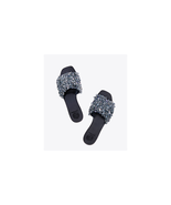 Tory Burch Logan Flat Slide  Gray Blue / Perfect Navy Size US 7.5 NWB $ ... - $178.20