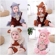 Fashion Beanies Soft Hat Wool Kid Winter Scarf Gloves Set 6 Months To 3 ... - $18.99