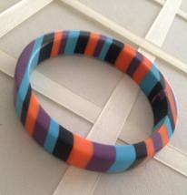 Vintage Mod Layered Multi-Colored Acrylic Fashion Bangle - $25.00