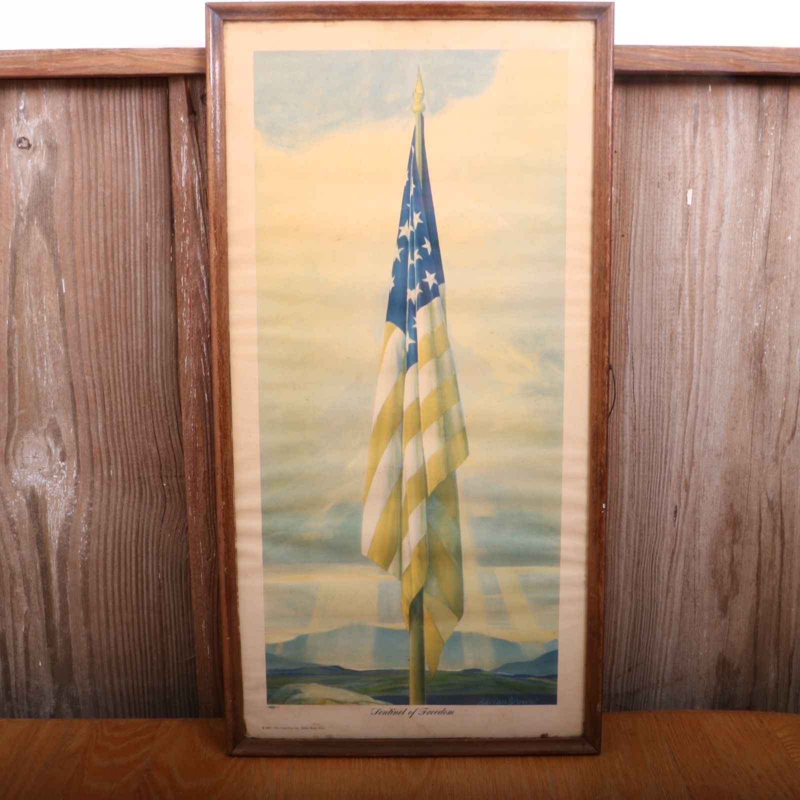 Vintage 1941 Sentinel of Freedom Framed American Flag Print Adrian Brewer