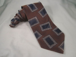 GIORGIO ARMANI Cravatte Silk Necktie Brown Blue Silver Gray Neck Tie Box... - $13.46