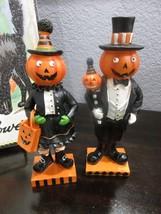 "(2) Halloween Mr & Mrs Pumpkin Figurines 8.75"" Decor Decoration - $36.99"