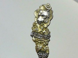 1895 CALIFORNIA Golden Gate BEAR GRAPE Wine Sterling Silver Souvenir Spoon - $29.69