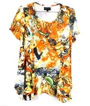 Bella Abstract Print Top Dali Sort of Fish Print S Polyester Short Sleev... - $29.50